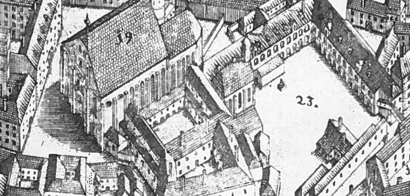 """Minoritenkloster. """"Suttingerplan""""; Entsatz                                 der kayserlichen Haupt und Residentz Stadt Wien in Oesterreich. 1683                                 [Ausschnitt] Daniel Suttinger. Karten und Globensammlung                                 (389.023-C)."""