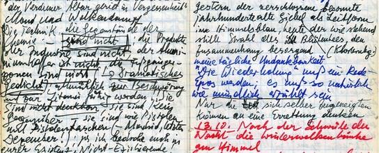 """Auszug aus einem Notizbuch von Peter Handke (Notizbuch Juli–November 1979 mit Notizen zum Projekt """"Ins tiefe Österreich"""" und den daraus hervorgegangenen Werken: Über die Dörfer (Dramatisches Gedicht) und Die Wiederholung (DLA, A: Handke, Notizbuch 22))"""