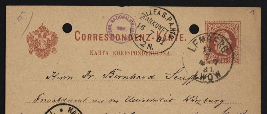 Korrespondenzkarte von August Sauer an                                 Bernhard Seuffert